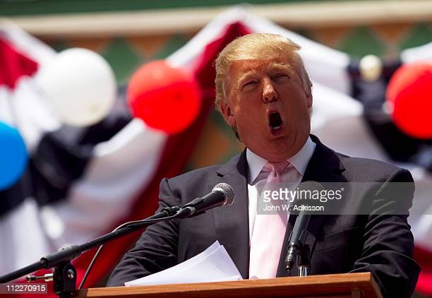 Billionaire Donald Trump speaks to a crowd at the 2011 Palm Beach County Tax Day Tea Party April 16 2011 at Sanborn Square in Boca Raton Florida...