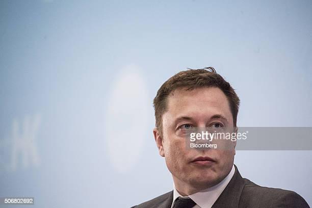 Billionaire Elon Musk chief executive officer of Tesla Motors Inc listens during the StartmeupHK Venture Forum in Hong Kong China on Tuesday Jan 26...