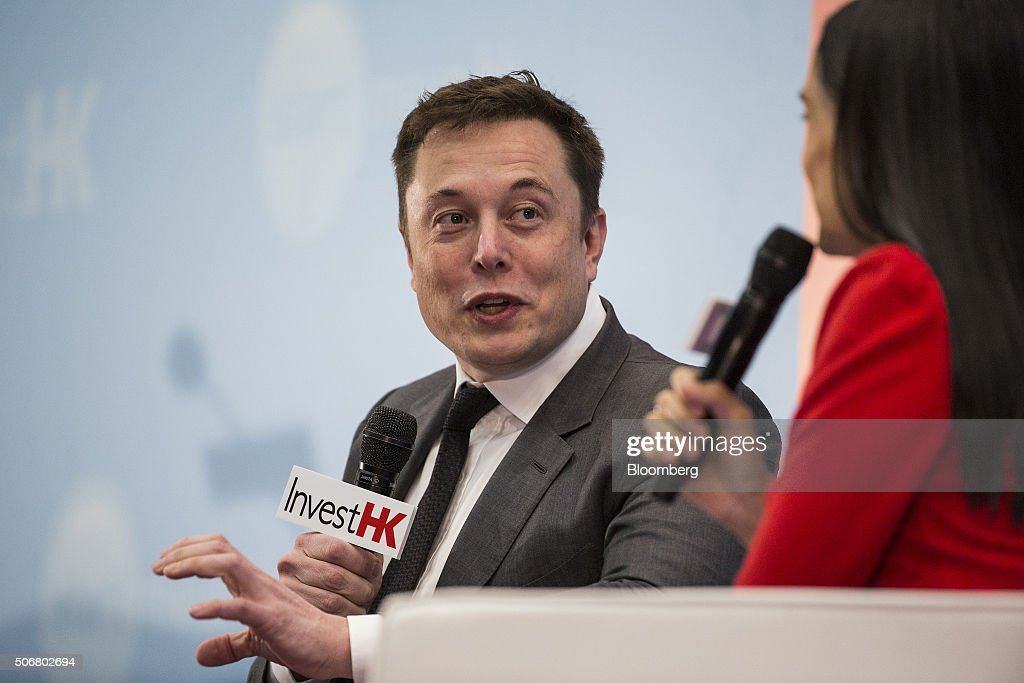 Billionaire Elon Musk, chief executive officer of Tesla Motors Inc., speaks during the StartmeupHK Venture Forum in Hong Kong, China, on Tuesday, Jan. 26, 2016. Tesla is looking for a Chinese production partner but is 'still trying to figure that out,' Musk said. Photographer: Justin Chin/Bloomberg via Getty Images