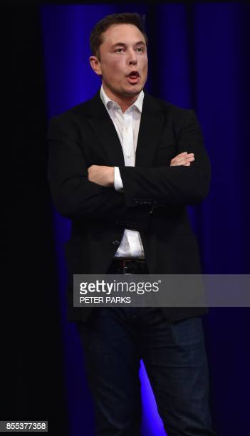 Billionaire entrepreneur and founder of SpaceX Elon Musk speaks at the 68th International Astronautical Congress 2017 in Adelaide on September 29...