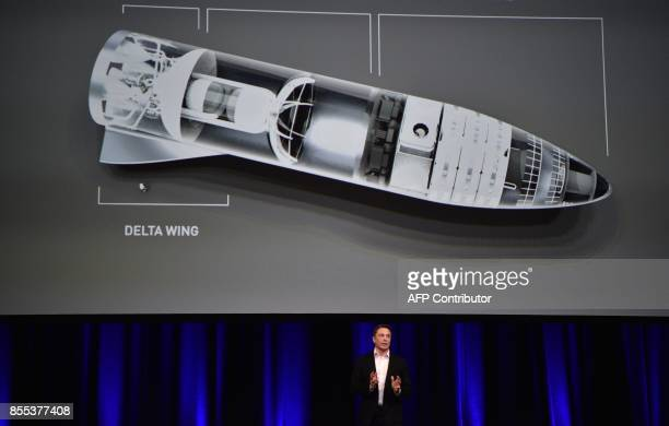 Billionaire entrepreneur and founder of SpaceX Elon Musk speaks in below a computer generated illustration of his new rocket at the 68th...