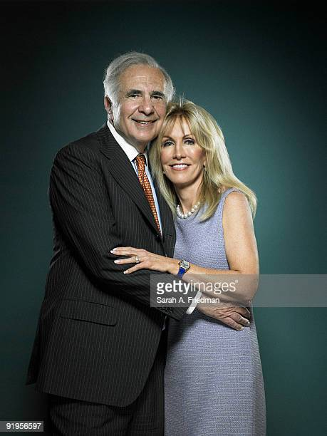 Billionaire financier Carl Icahn and wife Gail Icahn poses for a portrait session for Fortune Magazine in his New York City office
