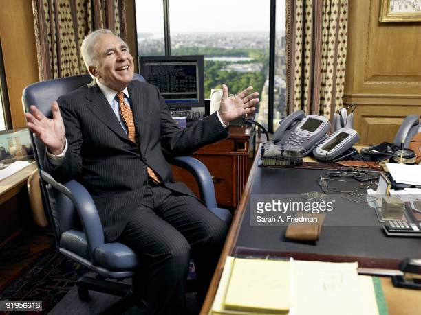 Billionaire financier Carl Icahn poses for a portrait session for Fortune Magazine in his New York City office