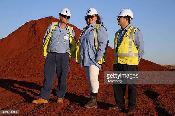 Billionaire Gina Rinehart chairman of Hancock Prospecting Pty center stands for a photograph with Barry Fitzgerald chief executive officer of Hancock...