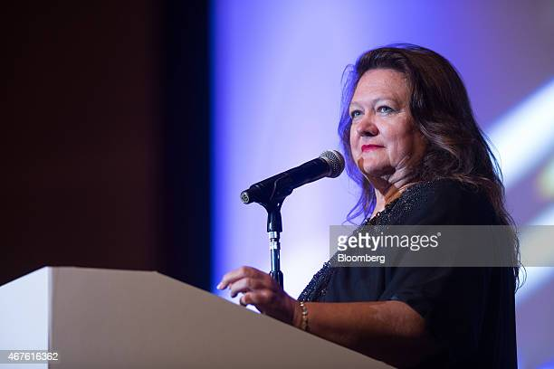 Billionaire Gina Rinehart chairman of Hancock Prospecting Pty pauses during the Mines and Money conference in Hong Kong China on Thursday March 26...