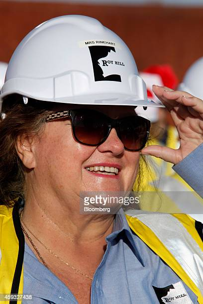 Billionaire Gina Rinehart chairman of Hancock Prospecting Pty reacts during a tour of the company's Roy Hill Mine operations under construction in...