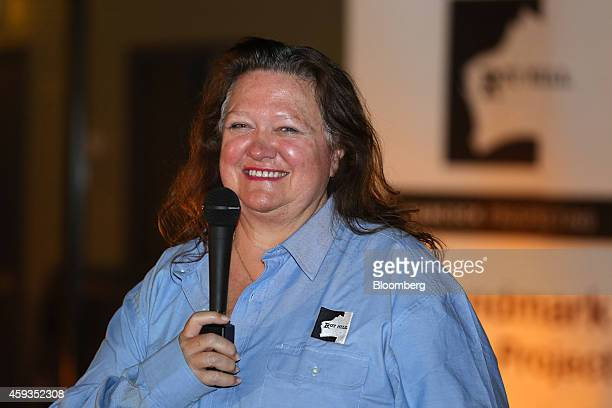 Billionaire Gina Rinehart chairman of Hancock Prospecting Pty speaks following a tour of the company's Roy Hill Mine operations under construction in...