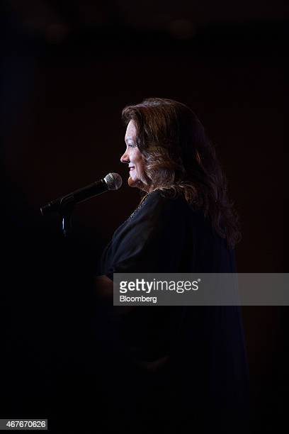 Billionaire Gina Rinehart chairman of Hancock Prospecting Pty speaks during the Mines and Money conference in Hong Kong China on Thursday March 26...