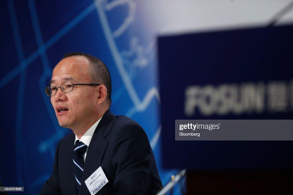 Fosun International Ltd. Chairman And Billionaire Guo Guangchang Attends Interim Results News Conference