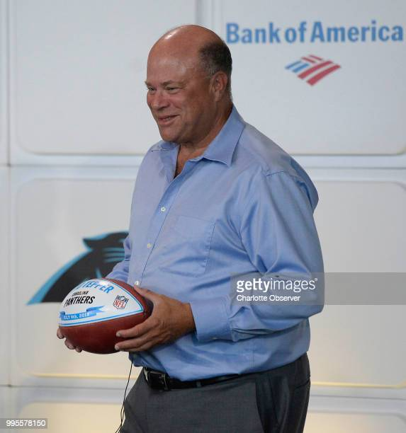 Billionaire hedgefund manager David Tepper the new owner of the Carolina Panthers poses for photos at the conclusion of his introductory press...