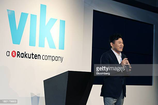 Billionaire Hiroshi Mikitani chairman and chief executive officer of Rakuten Inc speaks during a news conference in Tokyo Japan on Friday Oct 18 2013...