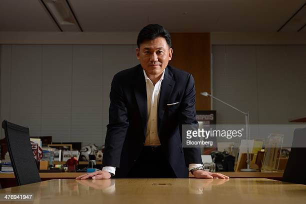Billionaire Hiroshi Mikitani chairman and chief executive officer of Rakuten Inc poses for a photograph following an interview in Tokyo Japan on...
