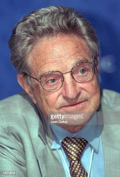 Billionaire investor and philanthropist George Soros speaks to reporters at the World Economic Forum June 3 in Salzburg, Austria, where the WEF is...