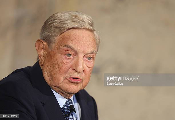 Billionaire investor George Soros speaks on The Tragedy of the European Union as a guest of The Institute for Media and Communications Policy on...