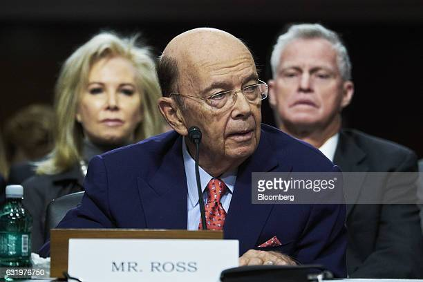Billionaire investor Wilbur Ross commerce secretary nominee for US Presidentelect Donald Trump listens during a Senate Commerce Science and...