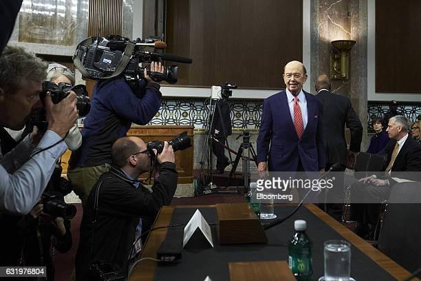 Billionaire investor Wilbur Ross commerce secretary nominee for US Presidentelect Donald Trump arrives for a Senate Commerce Science and...