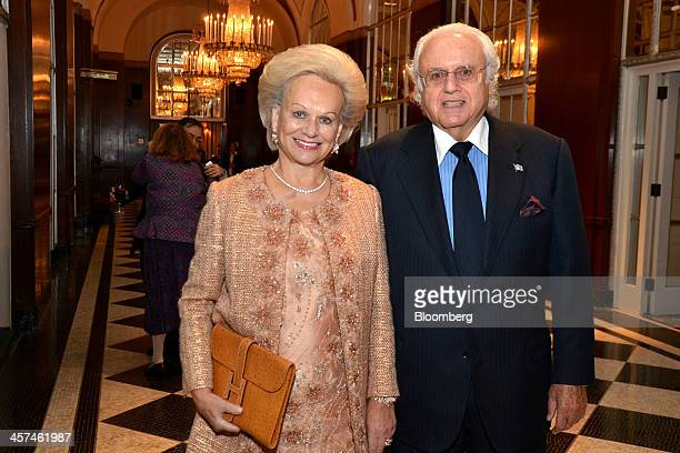 Billionaire Ira Rennert, chairman and chief executive officer of Renco Metals Inc., right, and his wife Ingeborg Rennert, attend a gala for the...