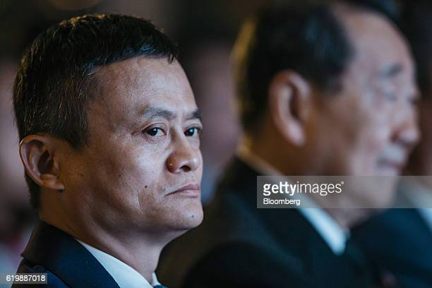 Billionaire Jack Ma chairman of Alibaba Group Holding Ltd looks on during news conference in Hong Kong China on Tuesday Nov 1 2016 Zhejiang Ant Small...