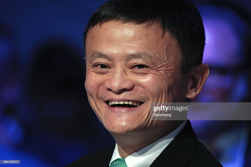 Billionaire Jack Ma, chairman of Alibaba Group Holding Ltd., reacts during a panel session at the World Economic Forum (WEF) in Davos, Switzerland, on Wednesday, Jan. 18, 2017. World leaders, influential executives, bankers and policy makers attend the 47th annual meeting of the World Economic Forum in Davos from Jan. 17 - 20. Photographer: Jason Alden/Bloomberg via Getty Images