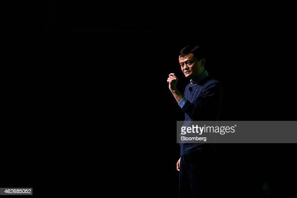 Billionaire Jack Ma chairman of Alibaba Group Holding Ltd speaks during an event in Hong Kong China on Monday Feb 2 2015 Ma regained his spot as...