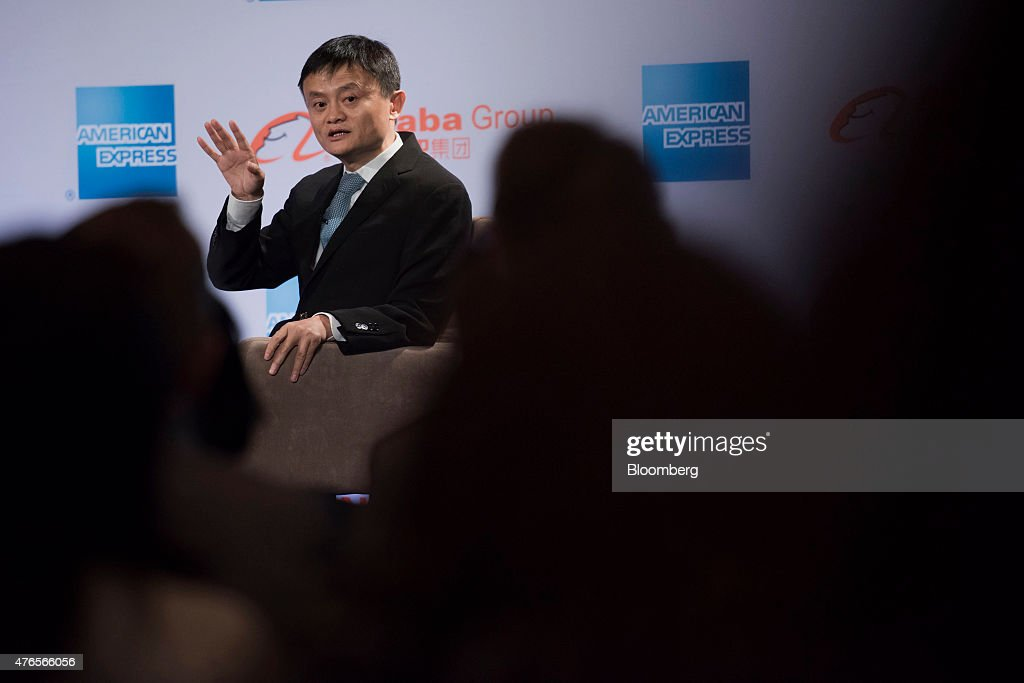 Billionaire Jack Ma, chairman of Alibaba Group Holding Ltd., speaks during an event in Chicago, Illinois, U.S., on Wednesday, June 10, 2015. Alibaba Group Holding Ltd.'s entry into the U.S. runs through small businesses, the same path the online marketplace took in China, Ma said. Photographer: Daniel Acker/Bloomberg via Getty Images