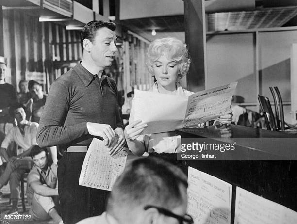 Billionaire JeanMarc Clement and singer Amanda Dell rehearsing a musical number in the film Let's Make Love Released in 1960