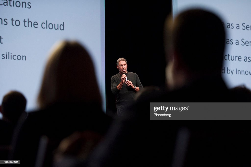 Billionaire Larry Ellison, chairman of Oracle Corp., speaks during the Oracle OpenWorld 2014 conference in San Francisco, California, U.S., on Sunday, Sept. 28, 2014. Oracle said its cloud service will match rival Amazon.com Inc.s pricing as it competes to help companies operate databases and software over the Internet rather than at their own data centers. Photographer: David Paul Morris/Bloomberg via Getty Images