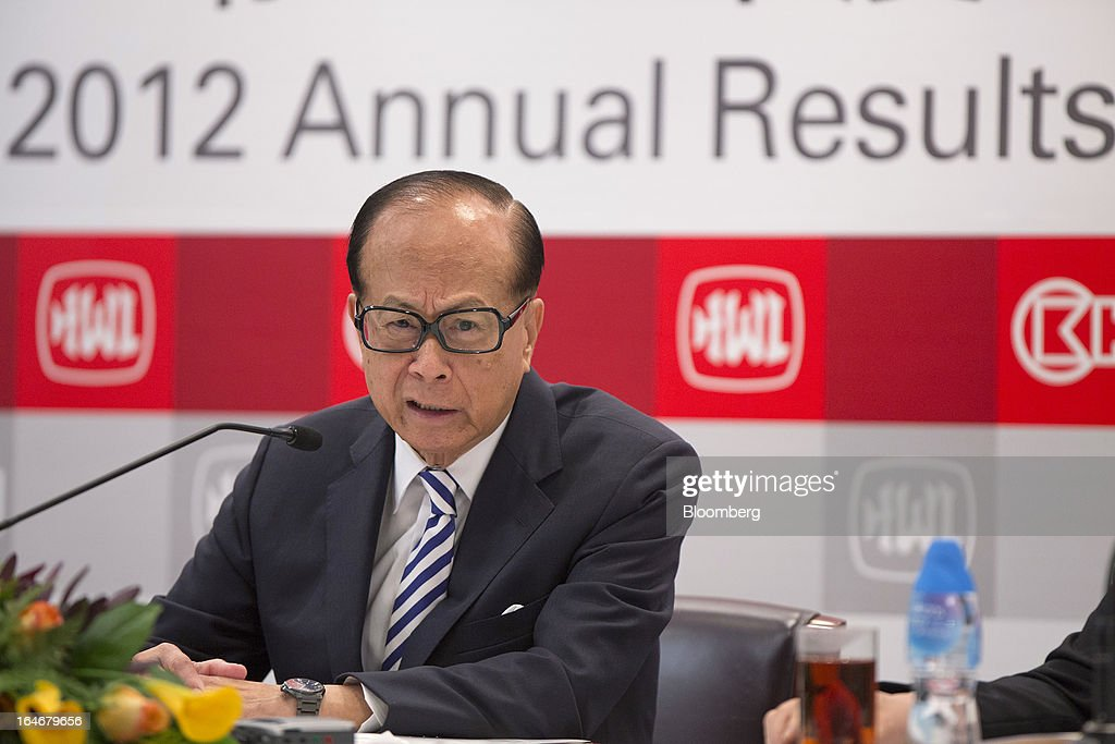 Billionaire Li Ka-shing, chairman of Cheung Kong (Holdings) Ltd. and Hutchison Whampoa Ltd., speaks during a news conference in Hong Kong, China, on Tuesday, March 26, 2013. Cheung Kong Holdings, the builder controlled by Asia's richest man, said 2012 profit excluding contributions from unit Hutchison Whampoa Ltd. rose 6 percent as rental income growth offset a decline in home sales. Photographer: Jerome Favre/Bloomberg via Getty Images