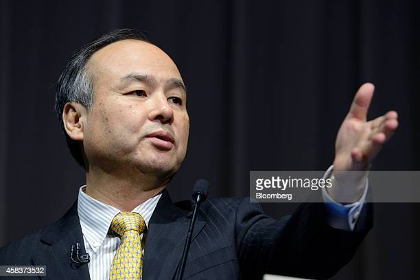 Billionaire Masayoshi Son chairman and chief executive officer of SoftBank Corp gestures as he speaks during a news conference in Tokyo Japan on...