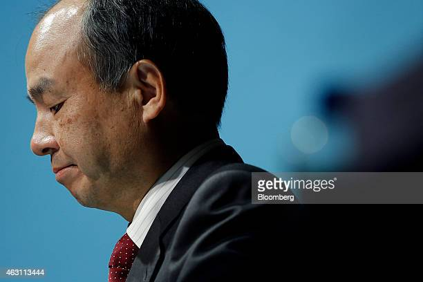 Billionaire Masayoshi Son chairman and chief executive officer of SoftBank Corp pauses during a news conference in Tokyo Japan on Tuesday Feb 10 2015...