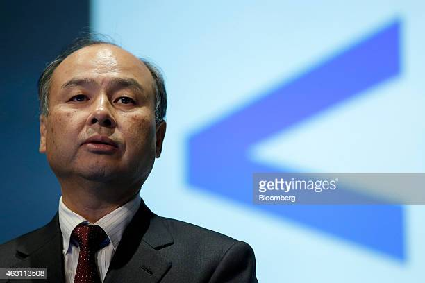Billionaire Masayoshi Son chairman and chief executive officer of SoftBank Corp speaks during a news conference in Tokyo Japan on Tuesday Feb 10 2015...