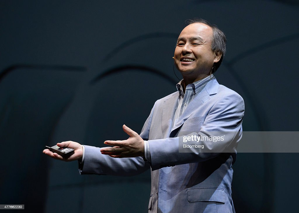 Billionaire Masayoshi Son, chairman and chief executive officer of SoftBank Corp., speaks during a news conference in Urayasu, Chiba Prefecture, Japan, on Thursday, June 18, 2015. SoftBank will start sales of its Pepper robot to consumers Saturday in a bid to spur adoption. Photographer: Akio Kon/Bloomberg via Getty Images