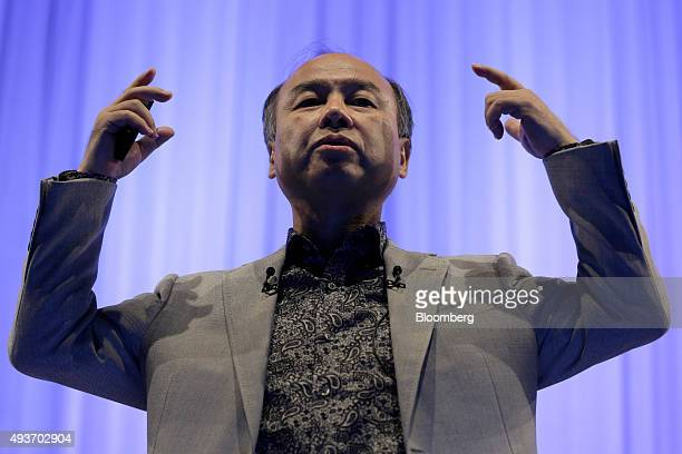 Billionaire Masayoshi Son chairman and chief executive officer of SoftBank Group Corp gestures as he speaks during a SoftBank Academia lecture in...