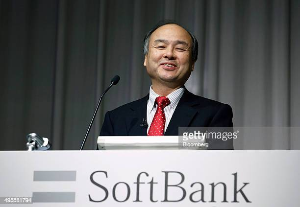 Billionaire Masayoshi Son chairman and chief executive officer of SoftBank Group Corp reacts during a news conference in Tokyo Japan on Wednesday Nov...