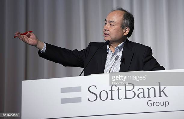Billionaire Masayoshi Son chairman and chief executive officer of SoftBank Group Corp speaks during a news conference in Tokyo Japan on Thursday July...
