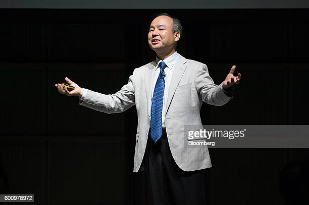 Billionaire Masayoshi Son chairman and chief executive officer of SoftBank Group Corp speaks during a symposium hosted by the Renewable Energy...