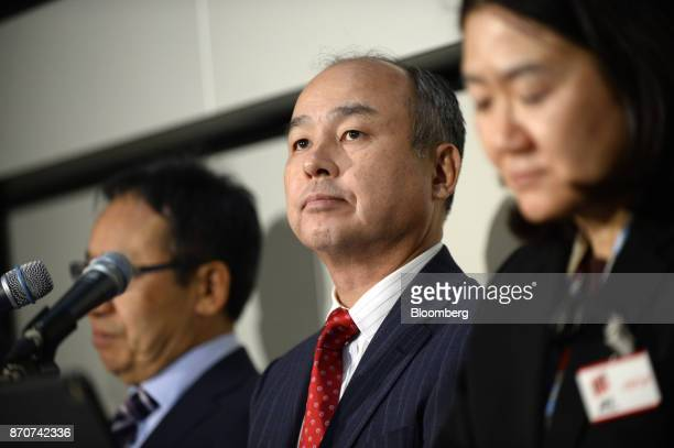 Billionaire Masayoshi Son chairman and chief executive officer of SoftBank Group Corp attends a news conference at the Tokyo Stock Exchange in Tokyo...