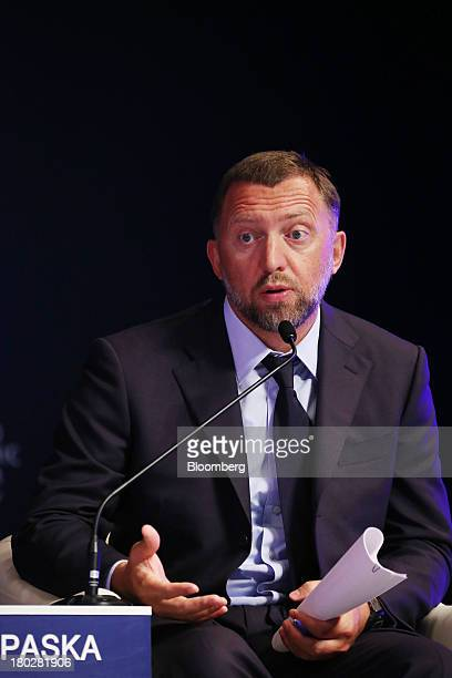 Billionaire Oleg Deripaska chief executive officer of United Co Rusal speaks during the World Economic Forum Annual Meeting Of The New Champions in...