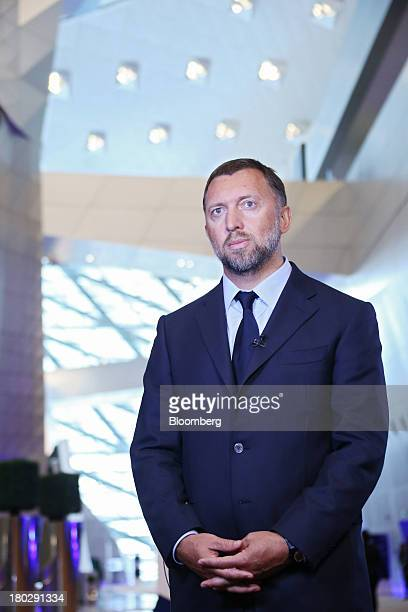 Billionaire Oleg Deripaska chief executive officer of United Co Rusal stands during a Bloomberg Television interview at the World Economic Forum...