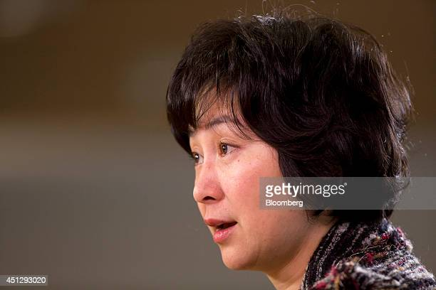 Billionaire Pansy Ho cochairman of MGM China Holdings Ltd speaks during an interview in Hong Kong China on Friday March 28 2014 MGM China of which...