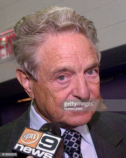 Billionaire philanthropist George Soros speaks at the Thurgood Marshall Academy in Harlem on October 14, 2004. Soros is reported to be committed to...