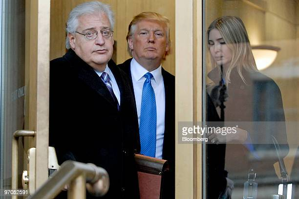 Billionaire real estate developer Donald J Trump center his daughter Ivanka Trump right and attorney David Friedman exit US Bankruptcy Court in...