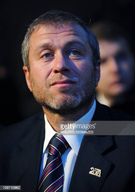 Billionaire Russian businessman Roman Abramovich the owner of the Chelsea Football Club looks on before Russia's Prime Minister Vladimir Poutine...