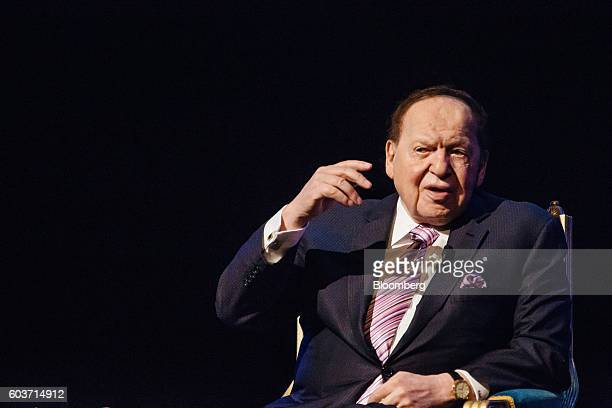Billionaire Sheldon Adelson chairman and chief executive officer of Las Vegas Sands Corp speaks during a news conference at the company's Parisian...