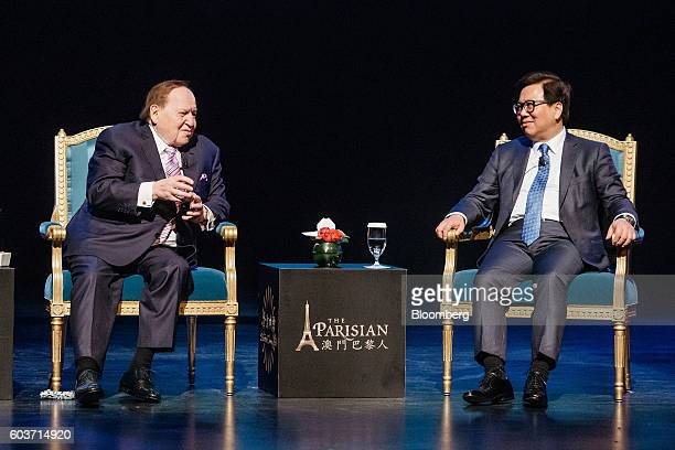 Billionaire Sheldon Adelson chairman and chief executive officer of Las Vegas Sands Corp left speaks as Wilfred Wong president and chief operating...