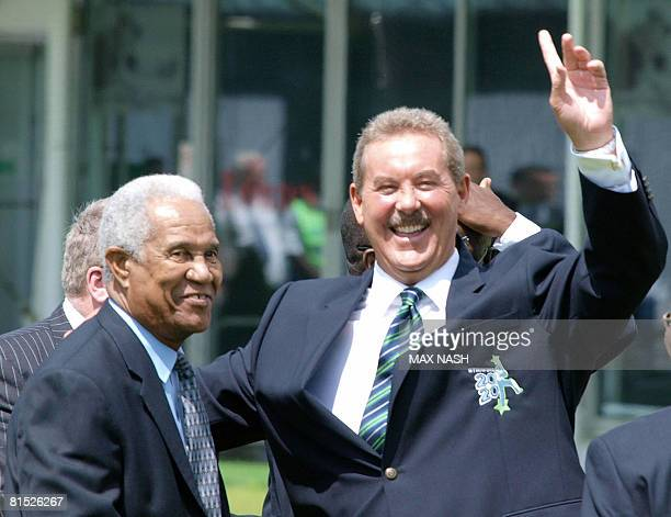 US Billionaire Sir Allen Stanford is pictured with former cricketer Sir Garfield Sobers at Lords cricket ground in London on June 11 2008 England's...