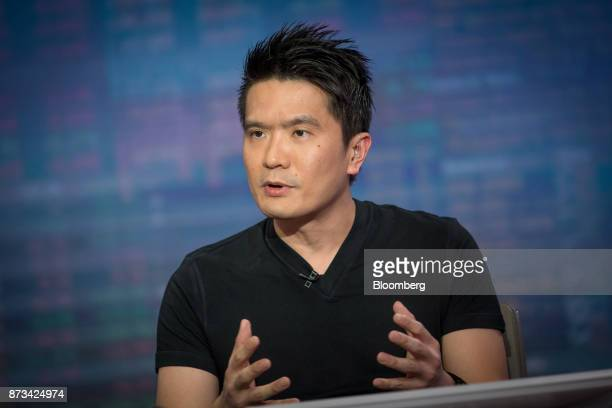 Billionaire Tan Min-Liang, chief executive officer and co-founder of Razer Inc., speaks during a Bloomberg Television interview in Hong Kong, China,...