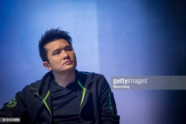 Billionaire Tan Min-Liang, chief executive officer and co-founder of Razer Inc., sits in the green room before a Bloomberg Television interview in...