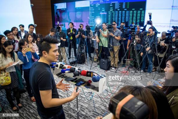 Billionaire Tan Min-Liang, chief executive officer and co-founder of Razer Inc., speaks to members of the media following the company's listing...