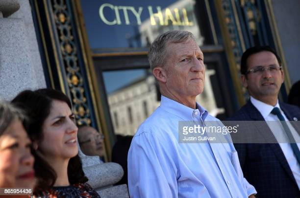 Billionaire Tom Steyer looks on during a rally and press conference at San Francisco City Hall on October 24 2017 in San Francisco California Tom...